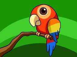 bright Cartoon Parrot on branch at greenery