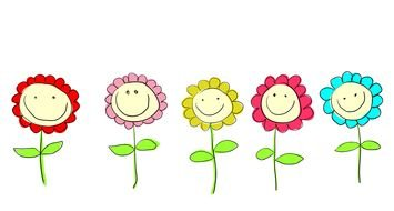 Colorful drawing of the colorful flowers clipart