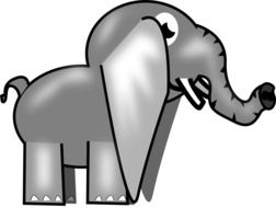 computer drawing of an elephant on a white background
