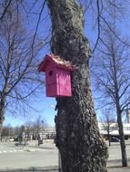 pink birdhouse on a tree