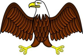 cartoon bald eagle with wide open wings