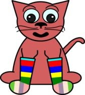 Pink cat dressed up in colorful socks