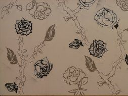 drawing in the form of roses on paper