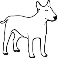 drawing of a white dog
