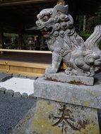 guardian dogs in a japanese temple