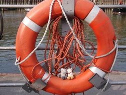 red lifebuoy on a ship close-up