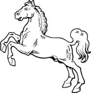 Black and white rearing horse clipart