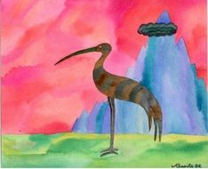 watercolor drawing of a stork near the mountain