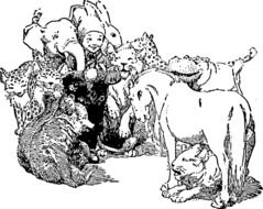 black and white drawing of animals