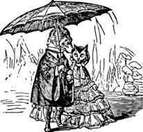 black and white drawing of a cat with a dog under an umbrella