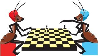 Colorful drawing of the ants playing chess clipart