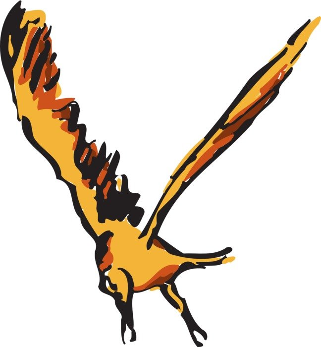 drawing of a flying orange eagle