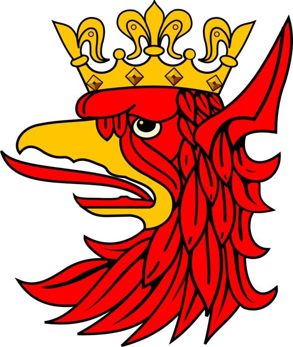 painted red bird head with a crown