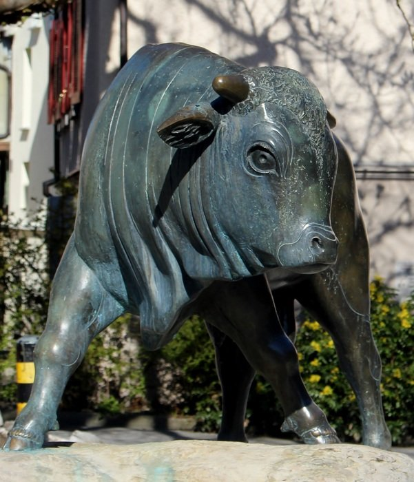 bronze sculpture of a bull in switzerland