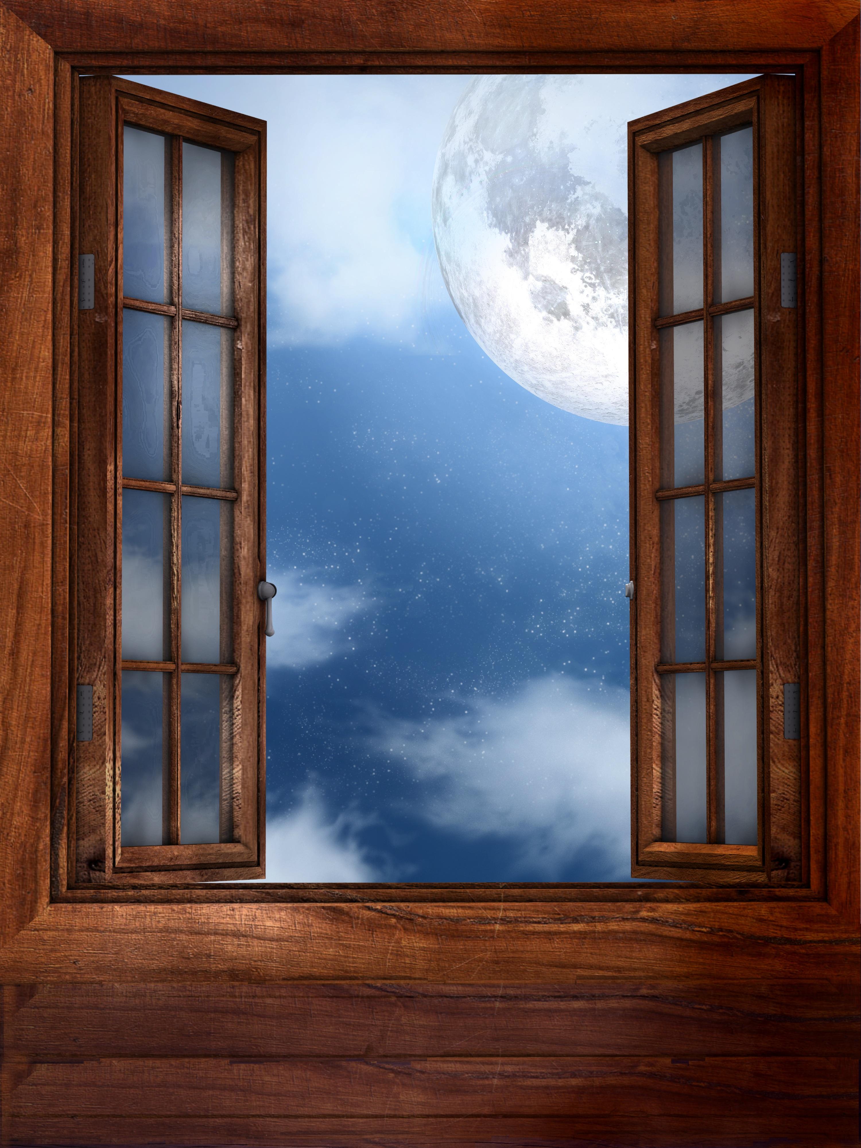 Open window at night - Window Moon Open Window Night