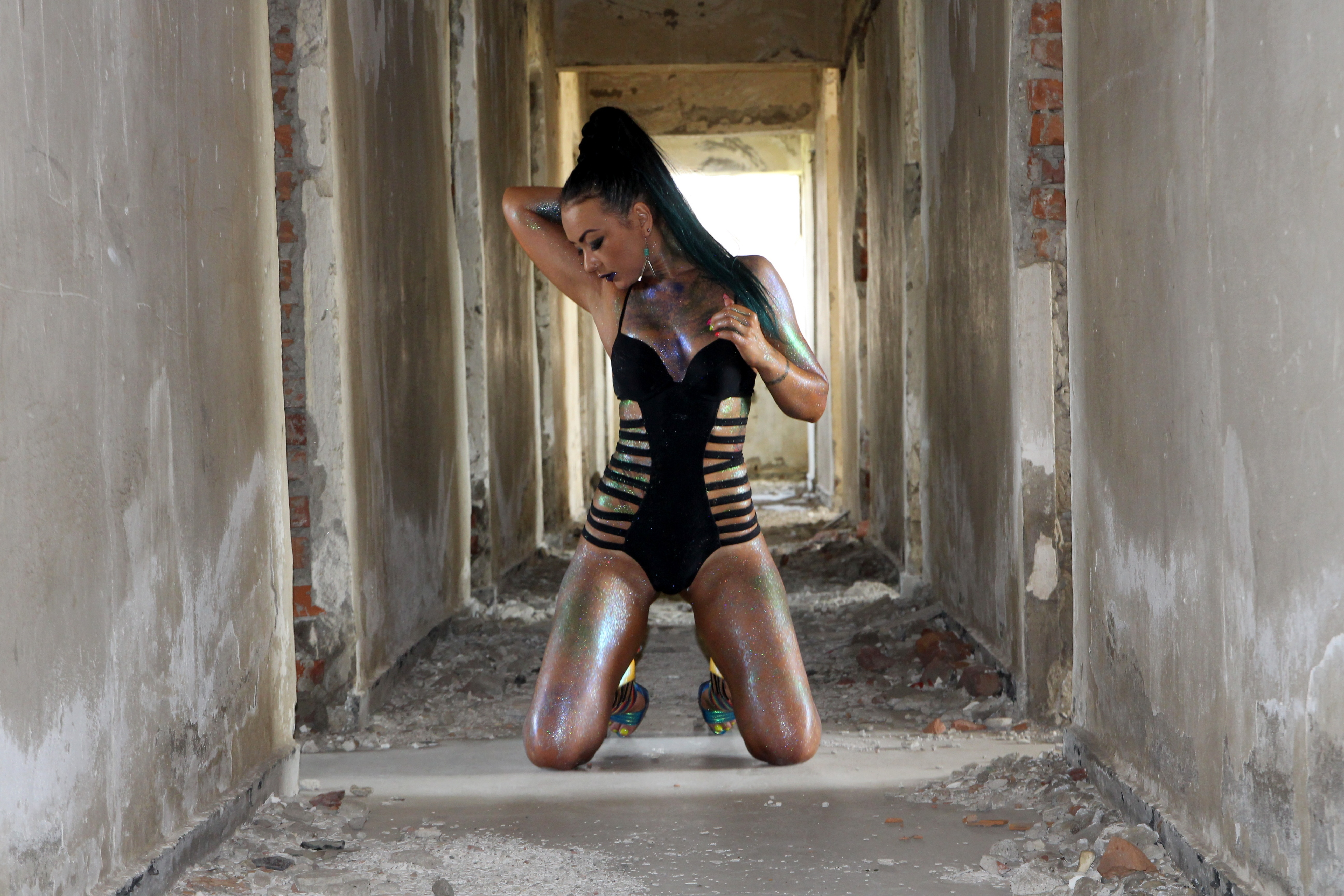 Beauty At A Photo Shoot In An Abandoned Building Free Image