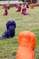 multi-colored statues in the park for dogs
