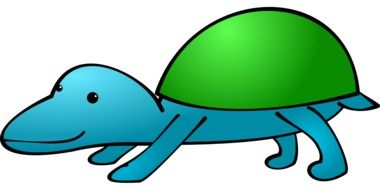 painted blue turtle with green shell
