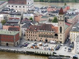 panoramic view of the town hall square on the banks of the Danube