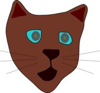 Head of the brown cat drawing clipart