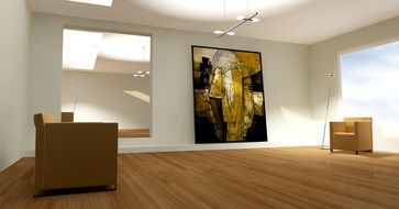 abstract painting on wall in white room, 3d visualization
