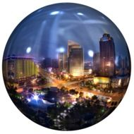 Landscape of the city on the ball clipart