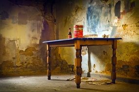 table in the dilapidated school