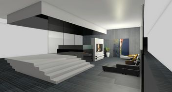 living room in 3d graphics
