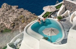 pool for a holiday on the island of Santorini