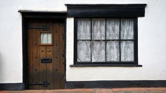 Old House, wooden door and Window, uk, england, hertfordshire