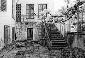 black white photo of old house
