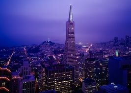 transamerica pyramid in San Francisco at night