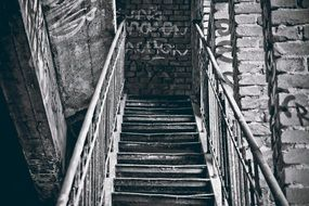 stair of an abandoned industrial plant