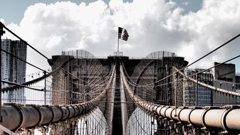 brooklyn bridge in new york closeup