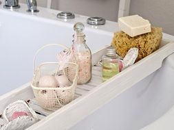 natural bath cosmetics on the shelf