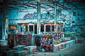 graffiti on the lapsed factory