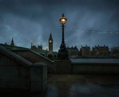 view of the night promenade near big ben in london