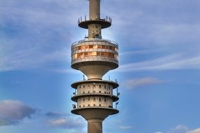Olympic Tower in evening sky, detail, germany, Munich