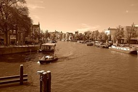 Amsterdam canal, sepia photo