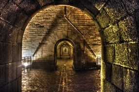 stone arched Passage in old building, france, morlaix