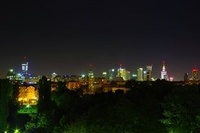 Downtown at Night, poland, Warsaw