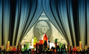 Dollar behind the curtain and city clipart