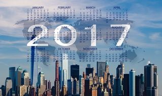 2017 calendar on city background