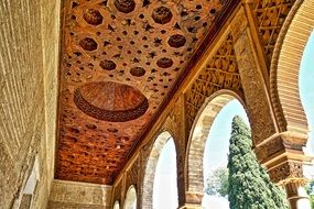 Ceiling of Alhambra palace, Moorish plasterwork, spain, granada