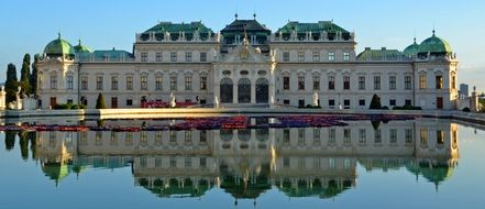 castle near the pond in vienna