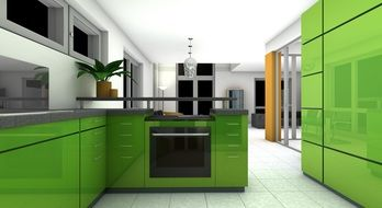 modern green kitchen set