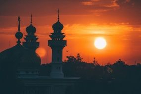 colorful sunrise over the mosque