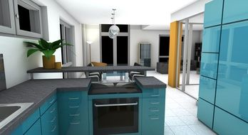 modern blue kitchen set