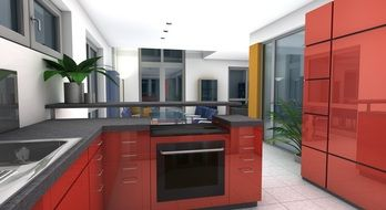 modern red kitchen set