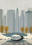 New York City at winter, Drawing